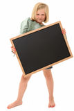 Girl with Chalkboard Stock Images