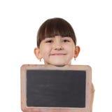 Girl and chalkboard Stock Photo