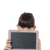 Girl and chalkboard Royalty Free Stock Images