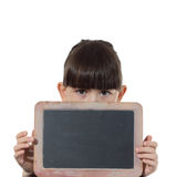 Girl and chalkboard Royalty Free Stock Image