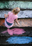 Girl chalking Royalty Free Stock Images