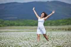 Girl in chamomile field Royalty Free Stock Images