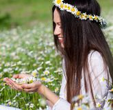 Girl in chamomile flower wreath Stock Photos