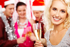 Girl with champagne Stock Images