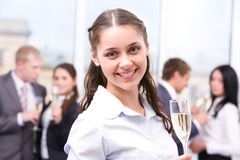 Girl with champagne Royalty Free Stock Photos