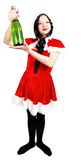 Girl with champagne at Christmas Stock Image