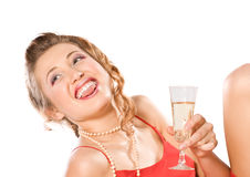 Girl with champagne glass Royalty Free Stock Image