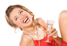 Girl with champagne glass Stock Photos