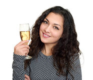 Girl with champagne glass beauty portrait, black and white checkered dress, long curly hair, glamour concept, isolated on white ba Stock Image