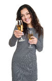 Girl with champagne glass beauty portrait, black and white checkered dress, long curly hair, glamour concept, isolated on white ba Stock Photo