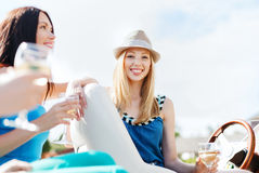 Girl with champagne glass on boat Stock Photography