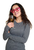 Girl with champagne glass and pink sunglasses, beauty portrait, black and white checkered dress, long curly hair, glamour concept, Stock Photography