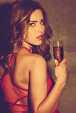 Girl with champagne Royalty Free Stock Images
