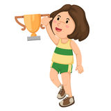 Girl champion with his trophy Royalty Free Stock Photography