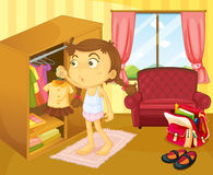 A girl changing clothes. Illustration of a girl changing clothes Stock Photo