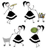 Girl character buying food Royalty Free Stock Photos