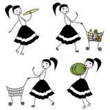 Girl character buying food Royalty Free Stock Photos