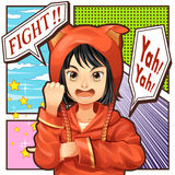 Girl character cartoon speak fight. Character in comics Stock Images