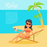 Girl character. Cartoon vector flat illustration travel. Tanned woman in a lounge chair on the shore of the ocean, dressed in swim Stock Photography