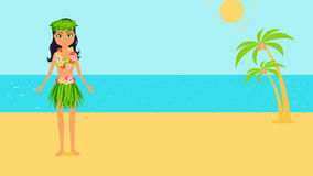 Girl character in national costume dancing the hula on a tropical beach. Animated cartoon woman flat illustration