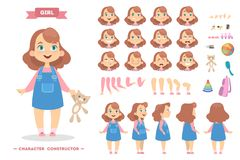 Girl character set. Girl character set with poses and eothions Royalty Free Stock Image