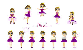 Girl character  set. Little girl character  set Royalty Free Stock Photography