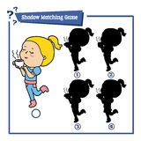 Girl character. Vector illustration of educational shadow matching game of girl character with cup of coffee or tea for children Royalty Free Stock Image