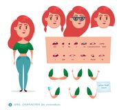 Character Student Woman. Girl character for your scenes.Parts of body template for design work and animation. Funny cartoon.Vector illustration isolated on white Stock Image
