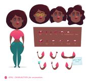 Girl character for your scenes. Parts of body template for design work and animation. Funny cartoon.Vector illustration isolated on white background. Set for Royalty Free Stock Image
