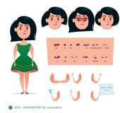 Girl character for your scenes. Parts of body template for design work and animation. Funny cartoon.Vector illustration isolated on white background. Set for Stock Photography