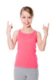 girl with characteristic heavy metal hand gesture Stock Photography