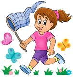 Girl chasing butterflies theme image 1 Royalty Free Stock Photos