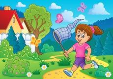 Girl chasing butterflies theme image 3 Stock Photo
