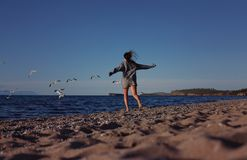 Girl chasing seagulls on beach Stock Photography