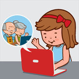 Girl chatting with grandparents on the internet Royalty Free Stock Photo