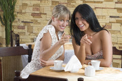 Girl chatting smiling. Two friends having a good time in a cafe smiling and chatting royalty free stock image