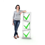Girl with a check list. Beautiful girl stand with a check list Royalty Free Stock Photography