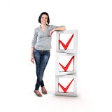 Girl with a check list. Beautiful girl stand with a check list Royalty Free Stock Image