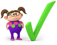 Girl with check mark royalty free stock photo