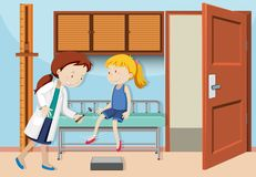 A Girl Check up with Doctor. Illustration Royalty Free Stock Photos