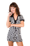 Girl in a checkered dress Royalty Free Stock Image