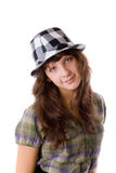 Girl in a checkered hat Stock Photo