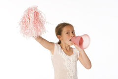 Girl cheering Royalty Free Stock Photo