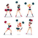 Girl cheerleaders  on white set. People cartoon character. Sports icon. Royalty Free Stock Photos
