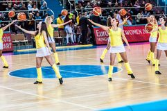 Girl Cheerleading appear on stage Match of the Euroleague Basketball FIBA womens Stock Photo