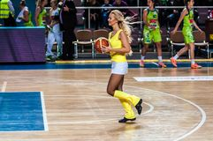 Girl Cheerleading appear on stage Match of the Euroleague Basketball FIBA womens Royalty Free Stock Photo