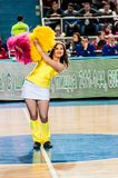 Girl Cheerleading appear on stage Match of the Euroleague Basketball FIBA womens Royalty Free Stock Image
