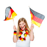 Girl cheers for the german soccer team Stock Images