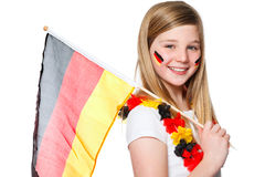 Girl cheers for the german soccer team Royalty Free Stock Images