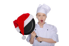 Girl chef with Christmas prize Royalty Free Stock Photography
